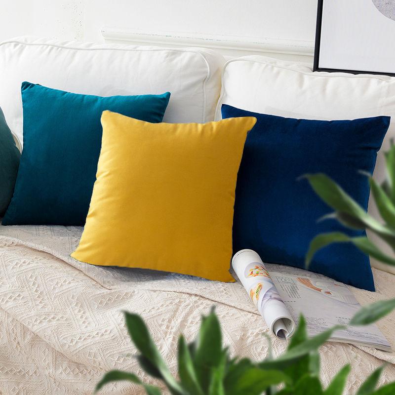 北欧抱枕正方形靠垫沙发靠枕客厅长方形靠背垫天鹅绒抱枕套不含芯