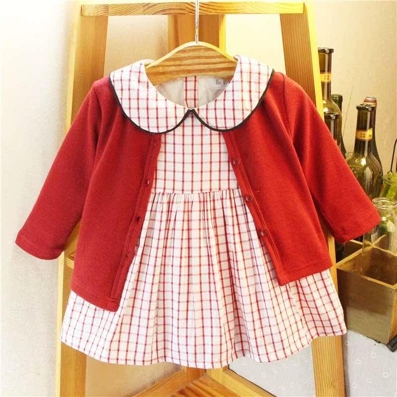 2019春款新品女宝宝外套+裙子两件套0-3岁女童套装连衣裙婴儿开衫