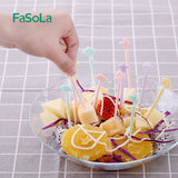 Small stick ingested fruit for family children creative cute cartoon plastic disposable toothpick fork set
