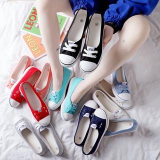 2019春夏浅口小白帆布鞋韩版学生百搭懒人布鞋小护士鞋一脚蹬女鞋