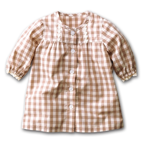 NISSEN 日本 16夏(特价现货)女童纯棉7分袖格子开衫