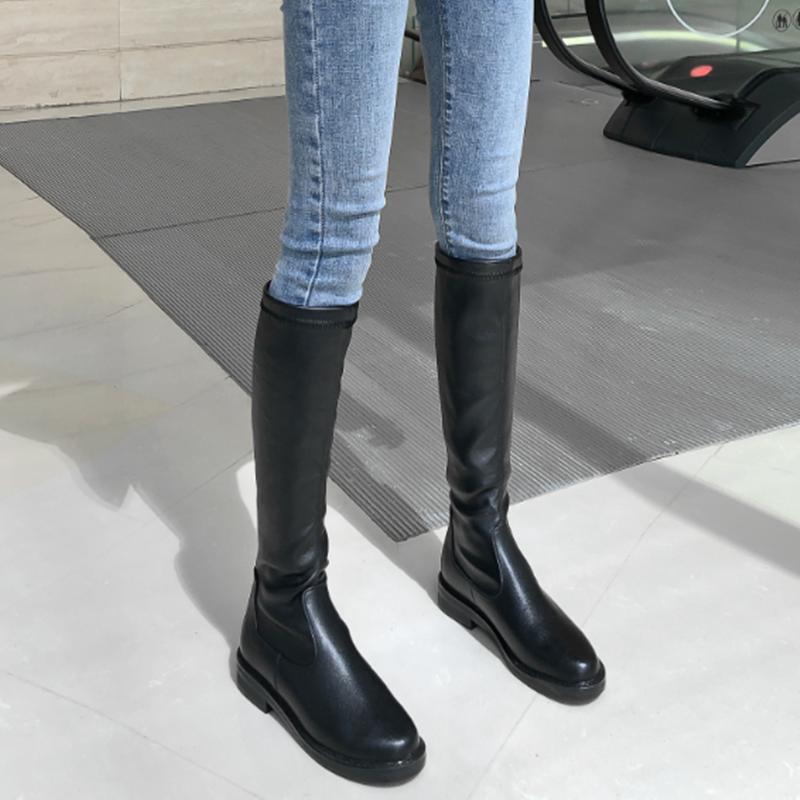 网红瘦瘦靴女中筒新款弹力靴平底高筒靴长筒ann骑士靴及膝女靴子