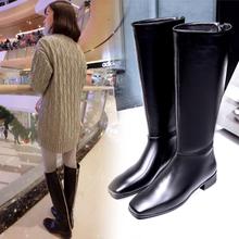 欧洲站冬靴子女中筒靴2017新款真皮高筒靴平底长靴骑士靴女靴单靴