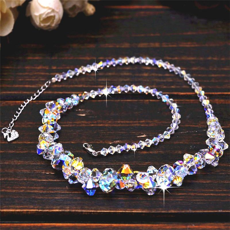 采用奥地利施家元素算盘珠水晶夸张项链锁骨链 婚礼佩戴影视饰品