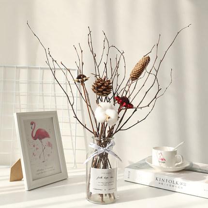 北欧风干花套盒家居客厅装饰干花束ins网红棉花带瓶礼盒送礼