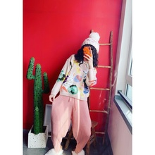Jiacuicui's self-made shopkeeper strongly recommends girl's pink crotch knitted Hallen tuck-in sweater pants