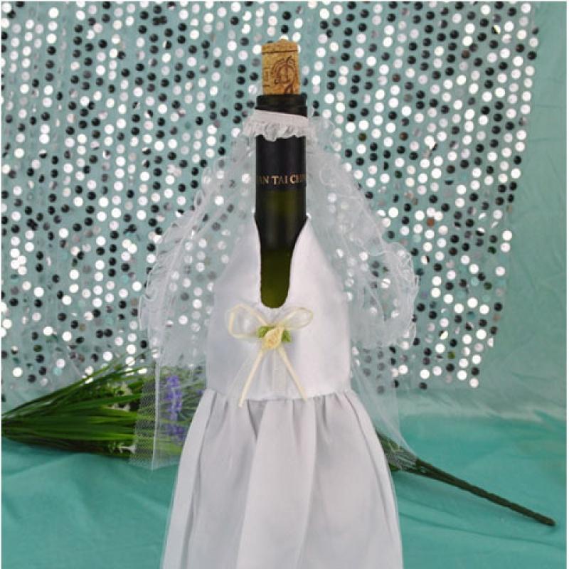 散花婚庆西式新郎新娘礼服香槟酒瓶套西式香槟衣服西式瓶衣
