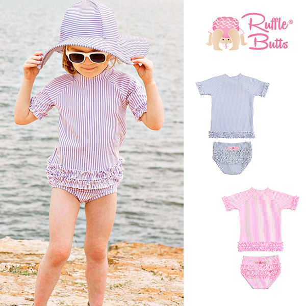 6f242d3a5c Rufflebutts baby girl split swimsuit / children's baby striped sleeves  sunscreen swimsuit 0-7 years