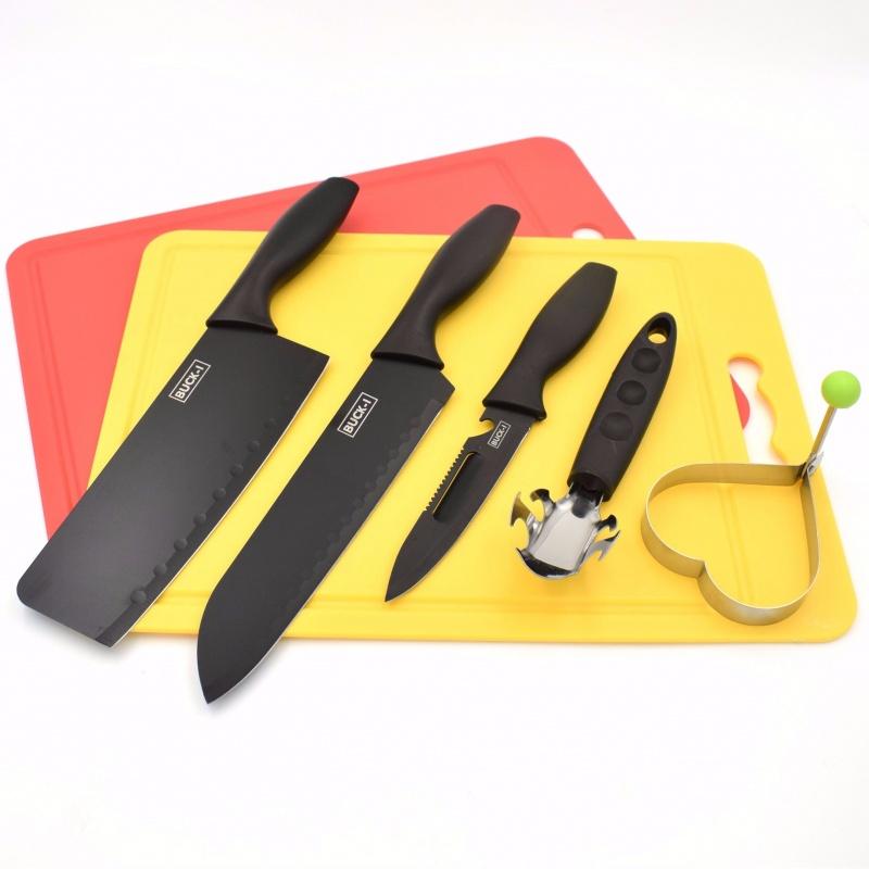 厂家直销 不锈钢刀具套装 厨房菜刀礼品套装 黑钢喷漆刀具五件套