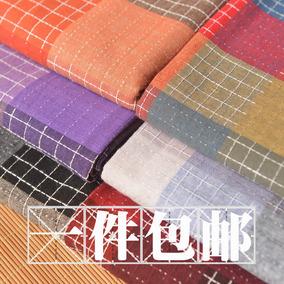 彩色色织格子棉麻 上衣服装半身裙抱枕桌布沙发巾拍摄背景布面料