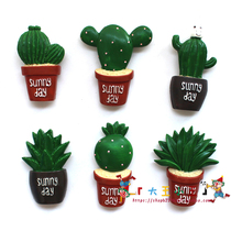 (King Wang) succulents cactus magnetic stickers flowers refrigerator stickers stickers decorative magnet home decorations