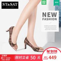 星期六2018秋季新款扣饰格纹高跟浅口单鞋女SS83111213St&Sat
