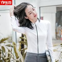 2017新款寸衫白色职业衬衫女2018春装新款长袖立领修身工作服衬衣