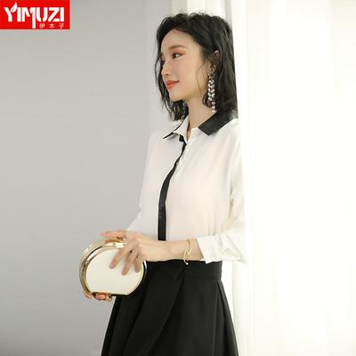 白衬衫女2018新款名媛香风洋气小衫长袖上衣白色工作服职业装衬衣