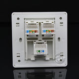 86-type three-port computer telephone socket super five types of network module dual network line one telephone line socket panel