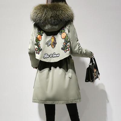 刺绣小蜜蜂羽绒服女2018新款冬季韩版休闲中长款大毛领连帽外套潮