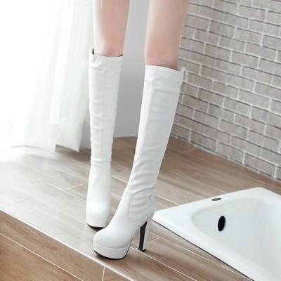 5/春秋冬女鞋高筒骑士靴防水台粗跟尖头靴子黑色超高跟白色冬季