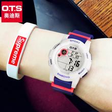 ots手表女学生韩版简约初中学生电子表休闲闹钟夜光防水女生手表