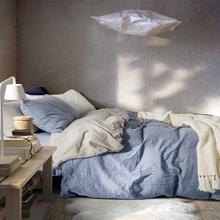 全棉格子水洗棉四件套床品 纯棉被套纯色床单被单床上用品床笠款