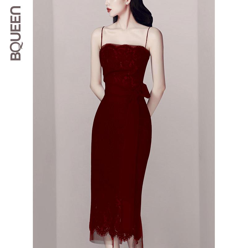 Bqueen2019夏季新款气质名媛蕾丝高腰修身显瘦酒红色吊带连衣裙女