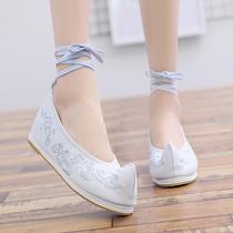 汉服配鞋翘头老北京绣花鞋弓鞋古装内增高女单鞋平底古风舞蹈鞋
