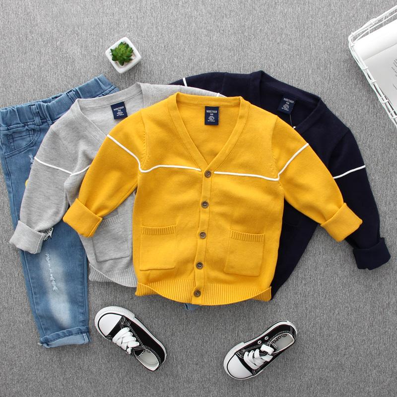 儿童开衫毛衣男童春秋款潮童装薄款纯棉线衫小童宝宝针织衫外套男