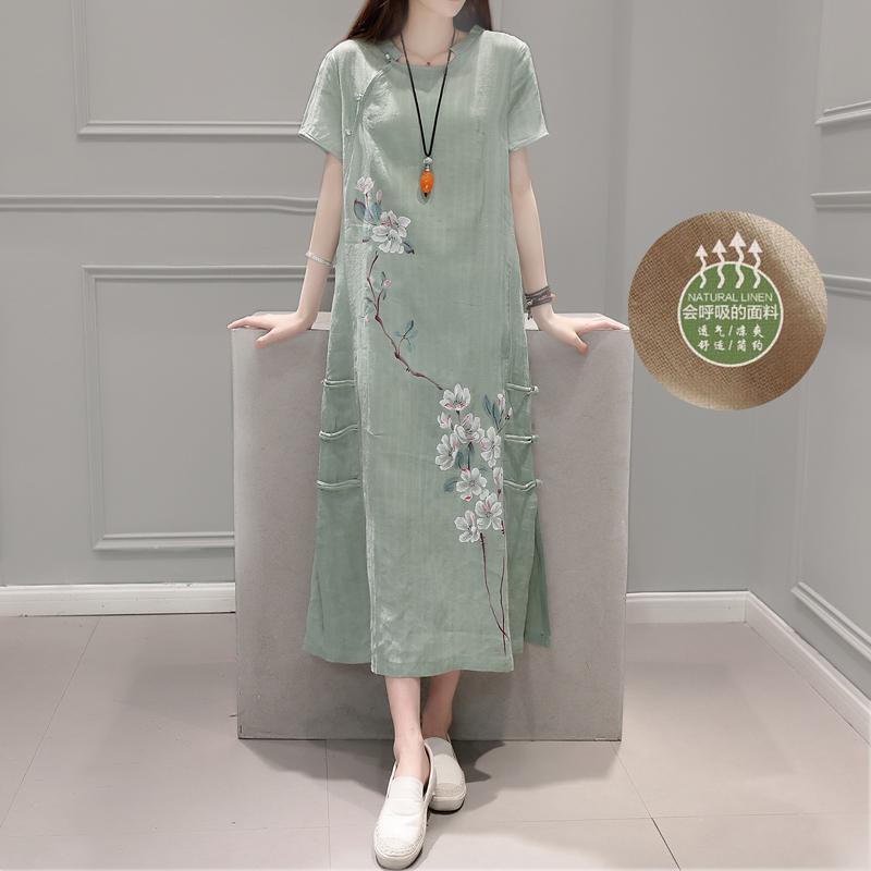 中式女裝棉麻禪服