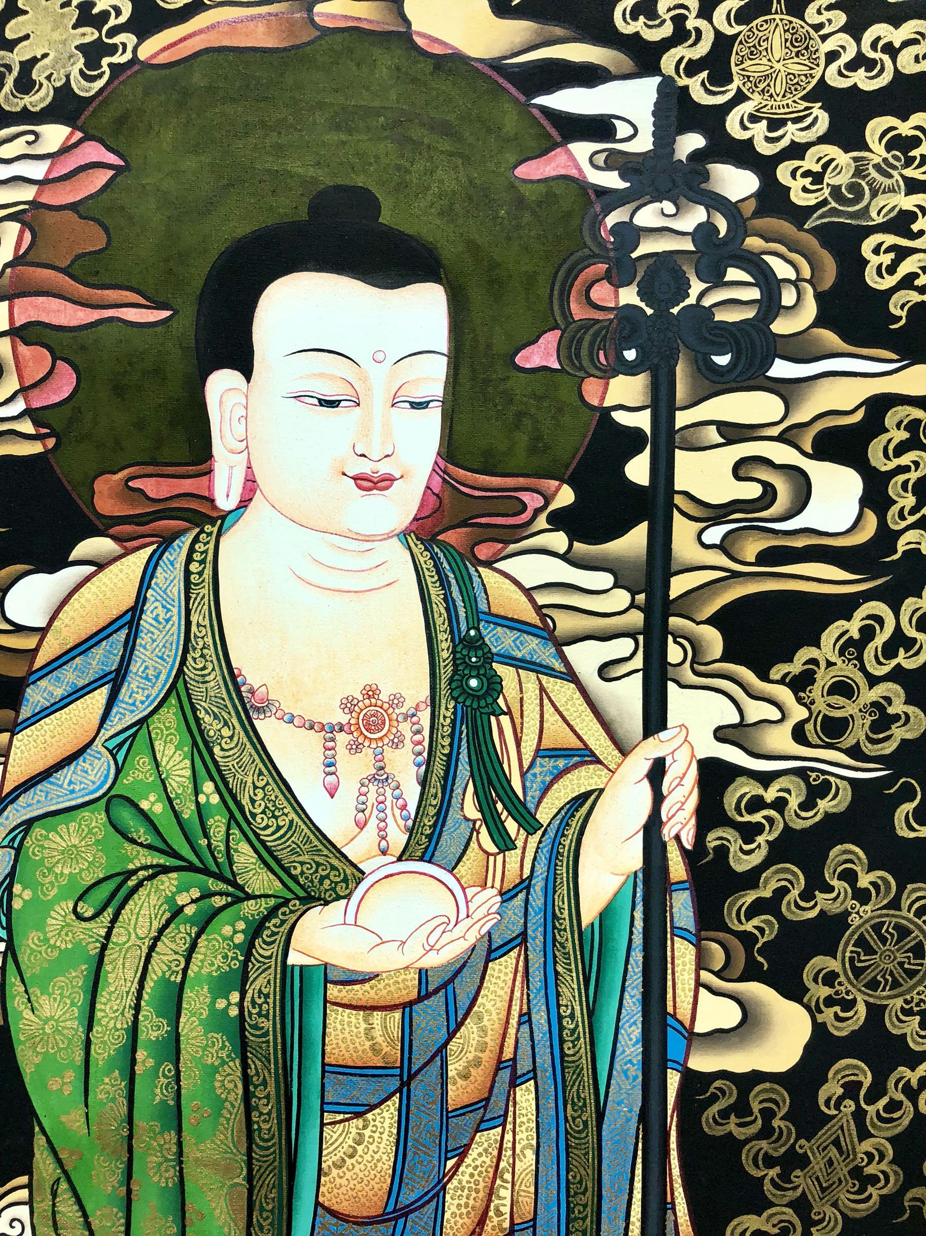 欢喜唐卡西藏热贡尼泊尔唐卡地藏王菩萨四大菩萨特色手工艺作品
