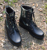 二炮作战鞋 牛皮高帮迷彩钢头钢底防护靴特种兵陆战靴军迷 超轻正品