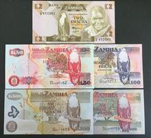 非洲钱币 全新UNC 赞比亚5枚 外国纸币