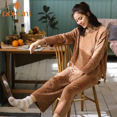 多拉美毛衣款睡衣女秋冬新款宽松舒适针织毛线柔软保暖薄绒家居服