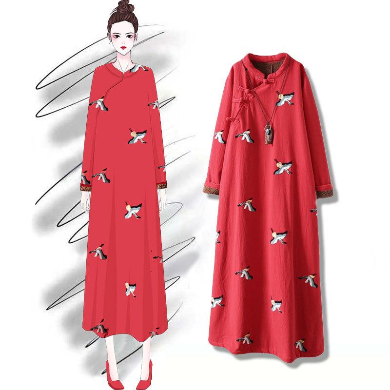 画续红色棉麻盘扣刺绣加绒加厚长款旗袍阔太太冬装大码复古连衣裙