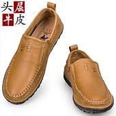 米斯特 骆驼男鞋休闲皮鞋透气柔软舒适男士真皮手工缝制套脚鞋男
