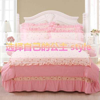 纯色四件套韩式蕾丝边床裙床上用品秋冬床单被套1.8m公主风4件套使用感受