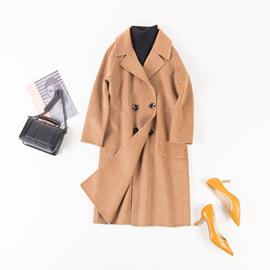 厂家直销2018女秋冬季新款羊绒双面羊毛呢外套大衣中款毛呢图片