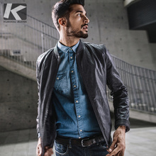 New Men's Skilled Leather Jacket for Handsome Standing-collar Locomotive in Korean Edition 8919