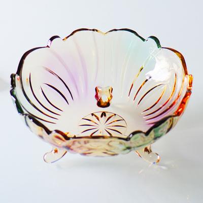 欧式水晶玻璃水果盘 现代创意客厅家用茶几篮 大号糖果干果沙拉盆