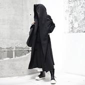 SIMPLE BLACK 秋冬新款暗黑RO风加厚中性炫酷中长款风衣外套