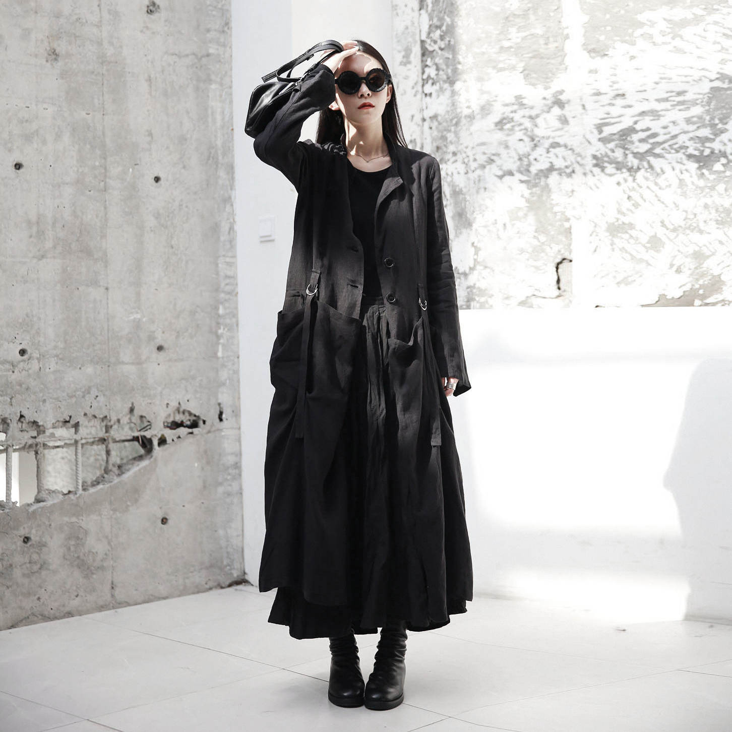 SIMPLE BLACK spring and autumn new dark wind and linen