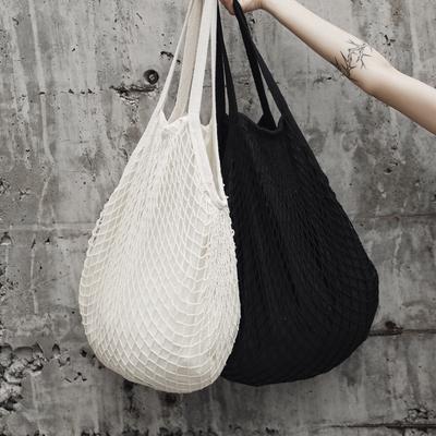 SIMPLE BLACK 夏季极简风编织手提单肩包鱼网袋
