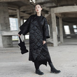 SIMPLE BLACK winter Japanese kimono binding robe loose long style cotton-padded coat cotton-padded coat woman