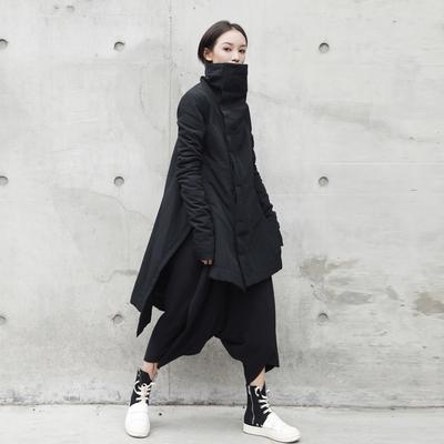 SIMPLE BLACK 暗黑立领不规则中长款棉衣棉服外套冬季棉袄女
