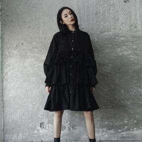 SIMPLE BLACK 2018春季暗黑风层次荷叶边加厚连衣衬衫裙