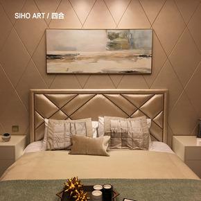 四合艺术 纯手绘抽象横长条油画 新古典客厅餐厅卧室现代挂画定制