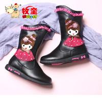 牧童童鞋冬款女童二棉靴子中筒儿童靴韩版公主卡通短靴