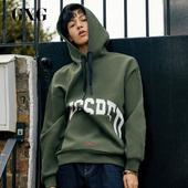 GXG男装 冬季男士韩版潮流军绿色连帽套头卫衣男#174831128