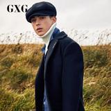GXG男装 冬季男士韩版修身长款羊毛呢大衣呢子外套男#174826200