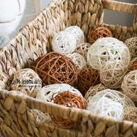 JK ad space hand-woven rattan ball shooting props color white brown multi-size flower pot filling decoration
