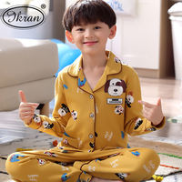 Children's pajamas boys cotton long-sleeved spring and summer summer boy big boy cotton cartoon home service thin suit