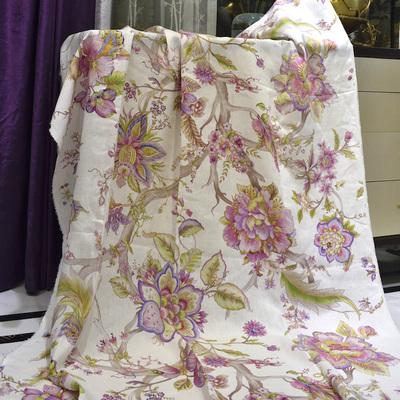 窗帘 亚麻香水百合亚麻印花粉色紫色浪漫全屋窗帘定制ML161